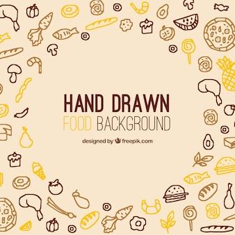 Fundo de comida deliciosa com estilo mão desenhada
