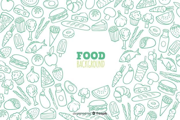 Fundo de comida deliciosa mão desenhada