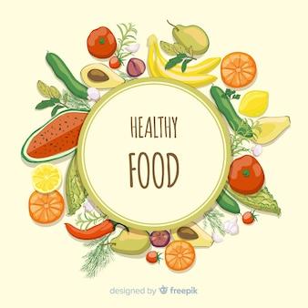 Fundo de comida fresca de quadro em círculo