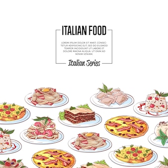 Fundo de comida italiana com pratos da cozinha nacional
