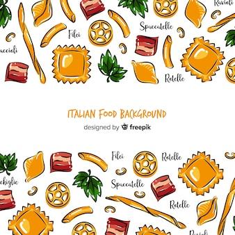 Fundo de comida italiana de mão desenhada