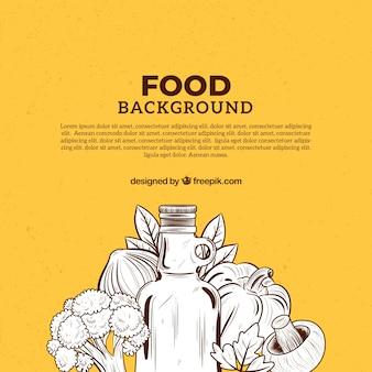 Fundo de comida mediterrânica desenhada de mão