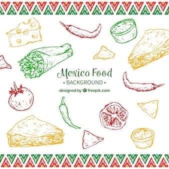 Fundo de comida mexicana colorida