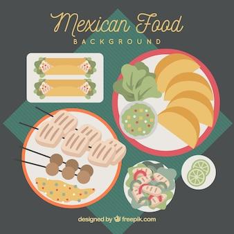 Fundo de comida mexicana em estilo plano