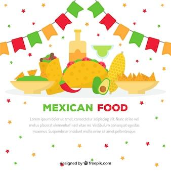 Fundo de comida mexicana plana