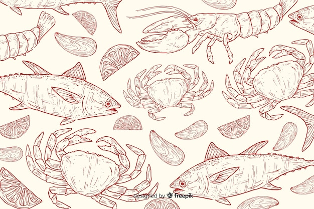 Fundo de comida natural de mão desenhada