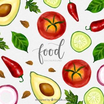 Fundo de comida saudável aquarela