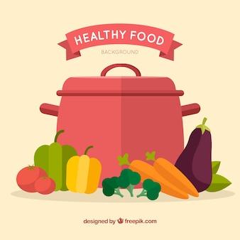 Fundo de comida saudável com design plano