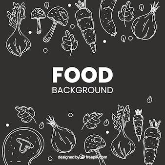 Fundo de comida saudável com estilo mão desenhada