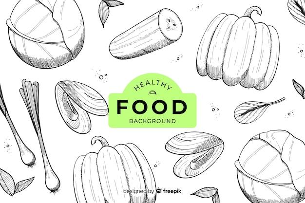 Fundo de comida saudável de mão desenhada