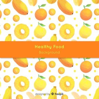 Fundo de comida saudável em aquarela