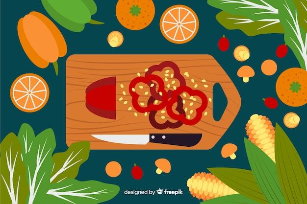 Fundo de comida saudável plana