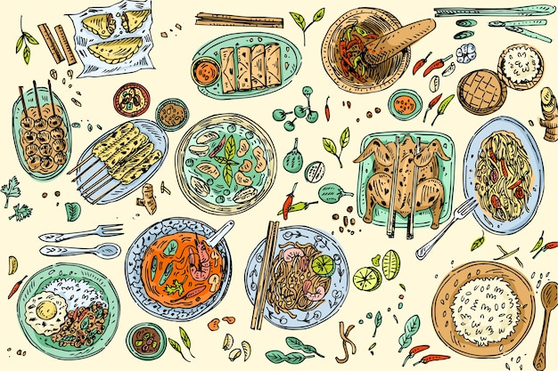 Fundo de comida tailandesa, comida tailandesa popular desenhada à mão, como sopa de tom yum, macarrão tailandês com prato, frango satay, salada de mamão etc.