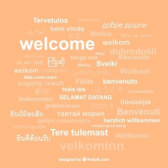 Fundo de composição de boas-vindas em diferentes idiomas