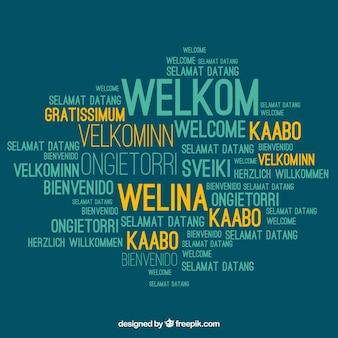 Fundo de composição de boas-vindas em idiomas diferentes