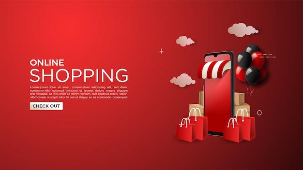 Fundo de compras online com ilustrações de telefones celulares