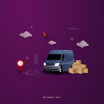 Fundo de compras online de entrega, com um carro de entrega.