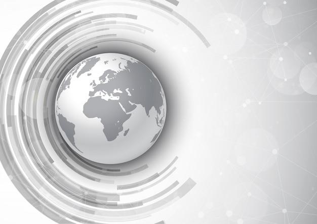 Fundo de comunicações de rede com design globo