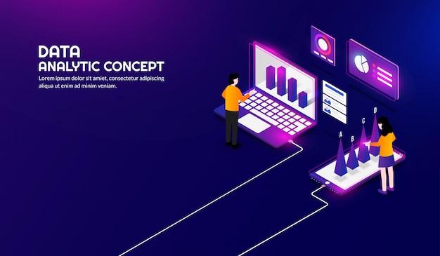 Fundo de conceito analítico de dados isométricos