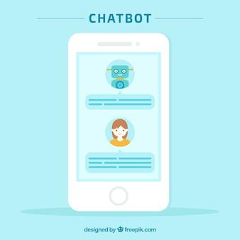 Fundo de conceito chatbot com dispositivo móvel