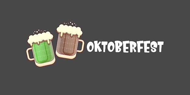 Fundo de conceito da oktoberfest com duas canecas de cerveja