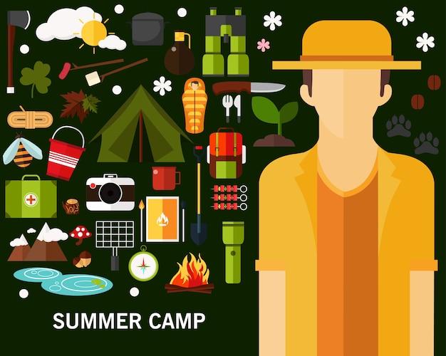 Fundo de conceito de acampamento de verão