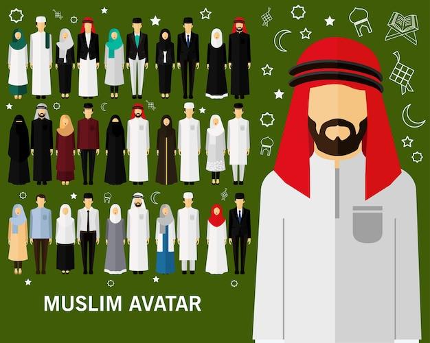 Fundo de conceito de avatares muçulmanos