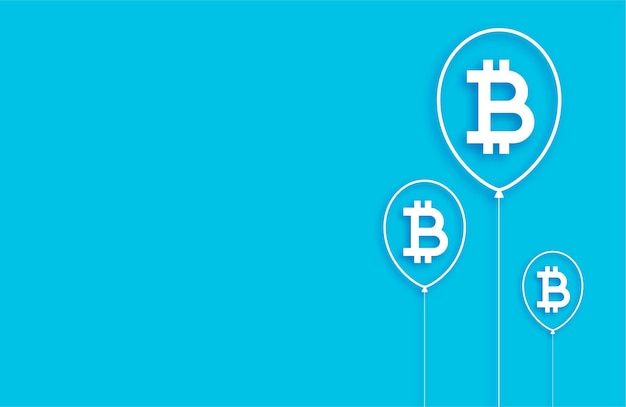 Fundo de conceito de balão de bolha de bitcoin plano
