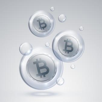 Fundo de conceito de bolha de mercado de criptomoeda bitcoin