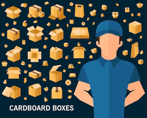 Fundo de conceito de caixas de papelão