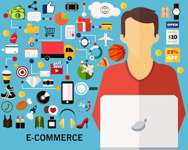 Fundo de conceito de comércio eletrônico