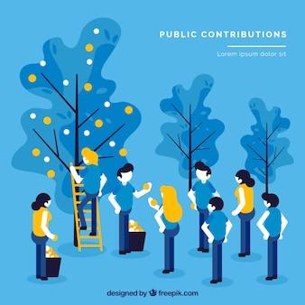Fundo de conceito de contribuições públicas