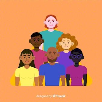 Fundo de conceito de diversidade de mão desenhada