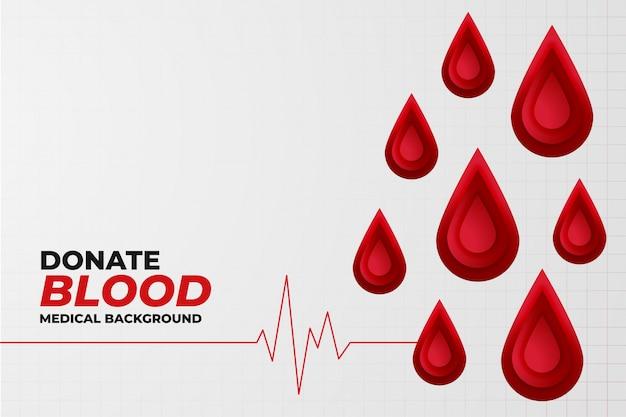 Fundo de conceito de doação de sangue com linha de batimento cardíaco