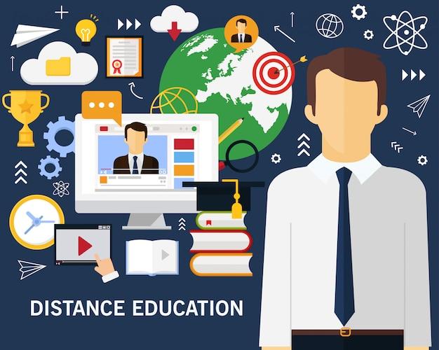 Fundo de conceito de educação a distância