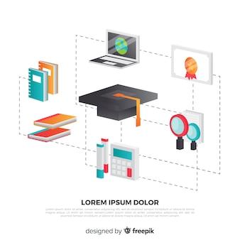 Fundo de conceito de educação isométrica
