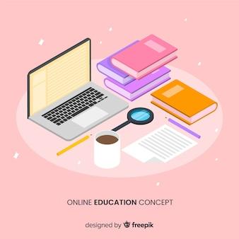 Fundo de conceito de educação on-line isométrica