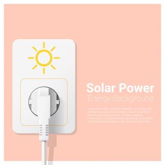 Fundo de conceito de energia verde com energia solar e ficha eléctrica