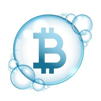 Fundo de conceito de explosão de criptomoeda de bolha de bitcoin