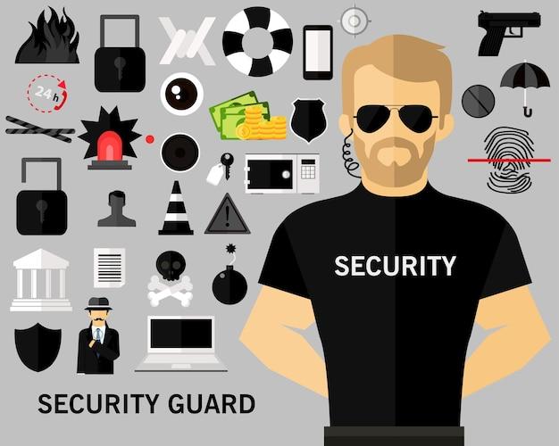 Fundo de conceito de guarda de segurança. ícones planas.