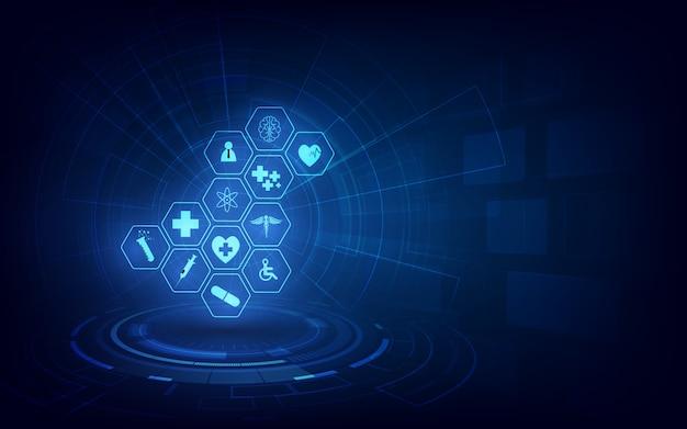Fundo de conceito de inovação de tecnologia médica