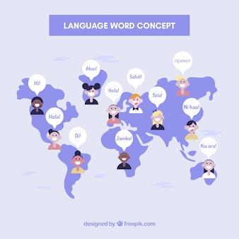Fundo de conceito de linguagem com palavras