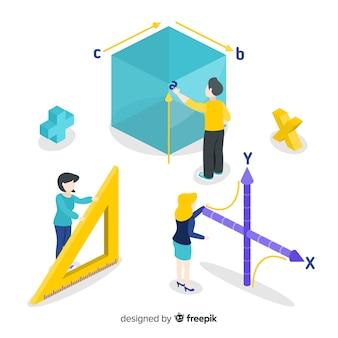 Fundo de conceito de matemática isométrica