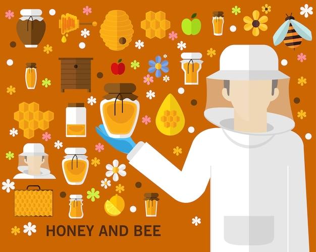 Fundo de conceito de mel e abelha