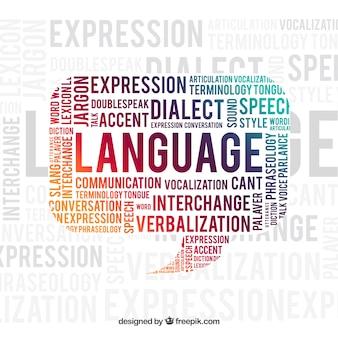 Fundo de conceito de palavra de língua