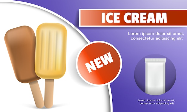 Fundo de conceito de picolé de doces. ilustração realista de fundo de conceito de vetor de picolé de doces para web design