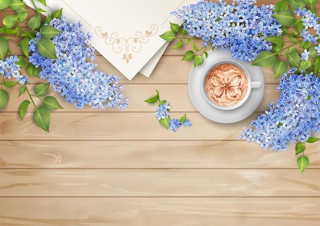 Fundo de conceito de primavera com flores lilás