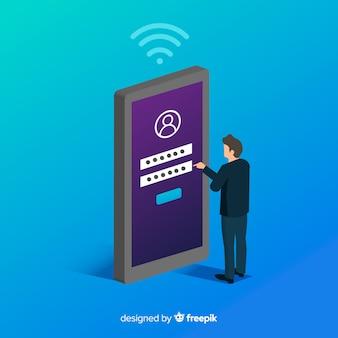 Fundo de conceito de registro on-line