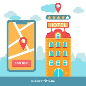 Fundo de conceito de reserva de hotel plana