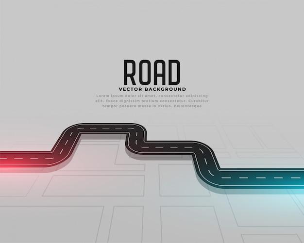 Fundo de conceito de rota de viagem de mapa de estrada